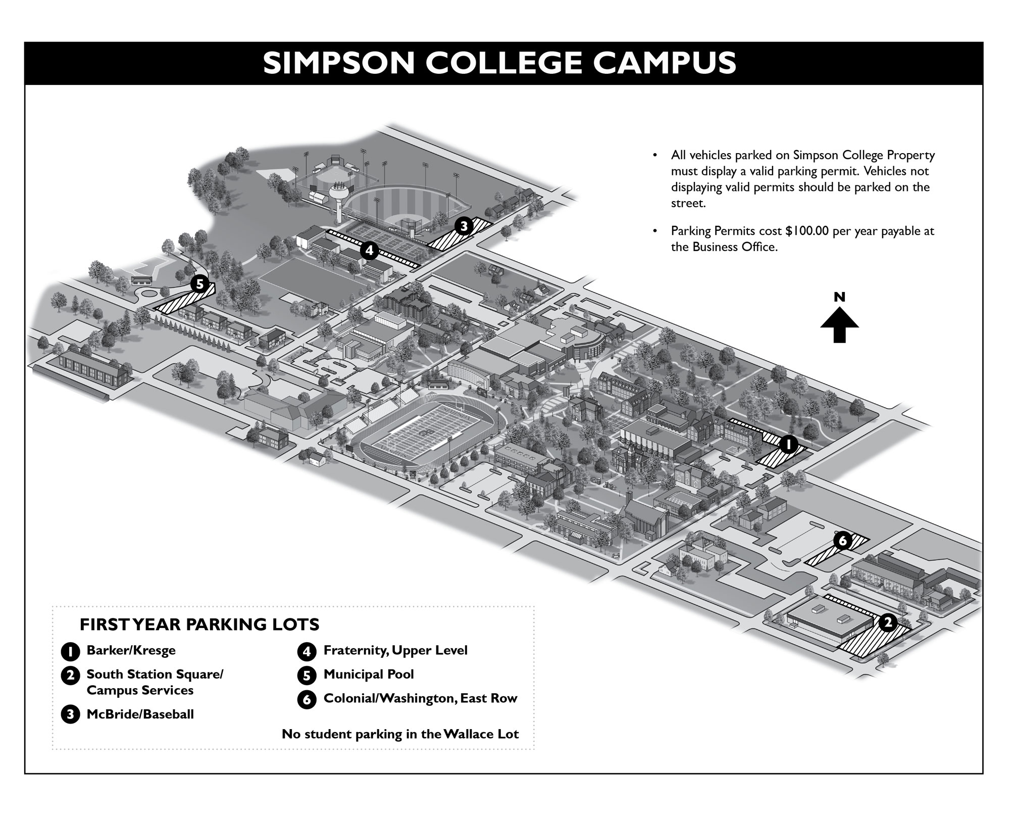 First Year Student Parking Map Simpson College