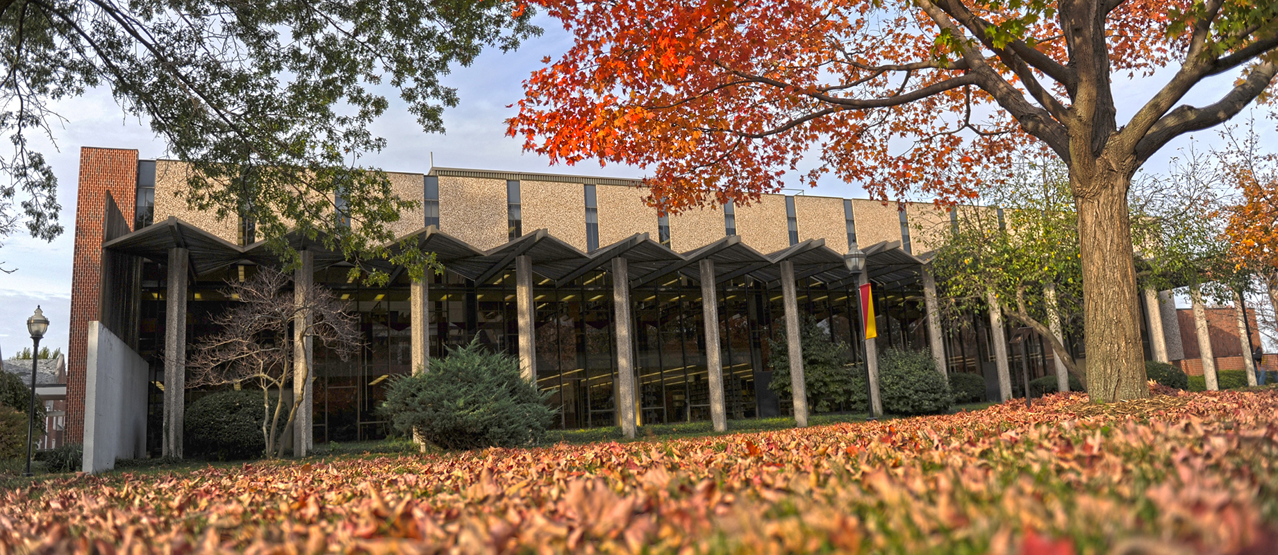 Dunn Library in the fall