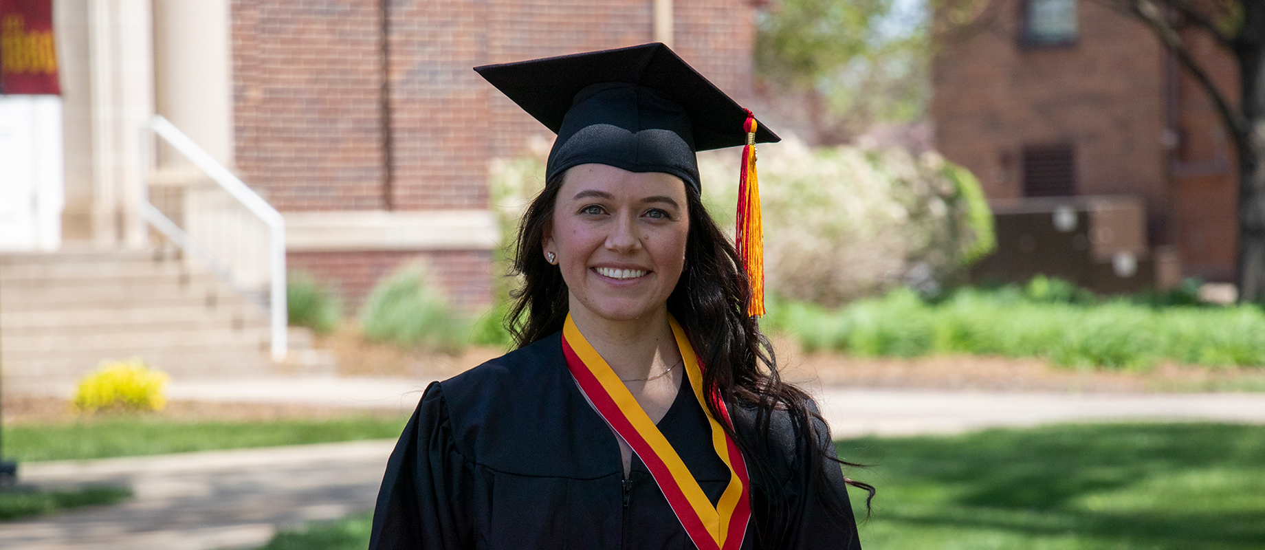 Simpson College graduate Brittany Peters at the 2021 spring commencement ceremony
