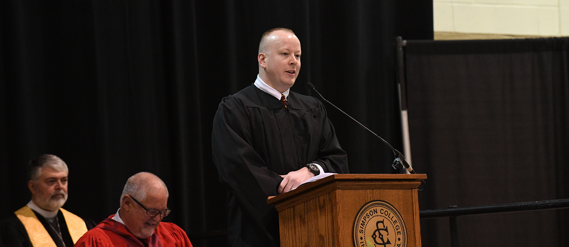 Cole Hippen delivered the graduate student address at the 2019 commencement ceremony.