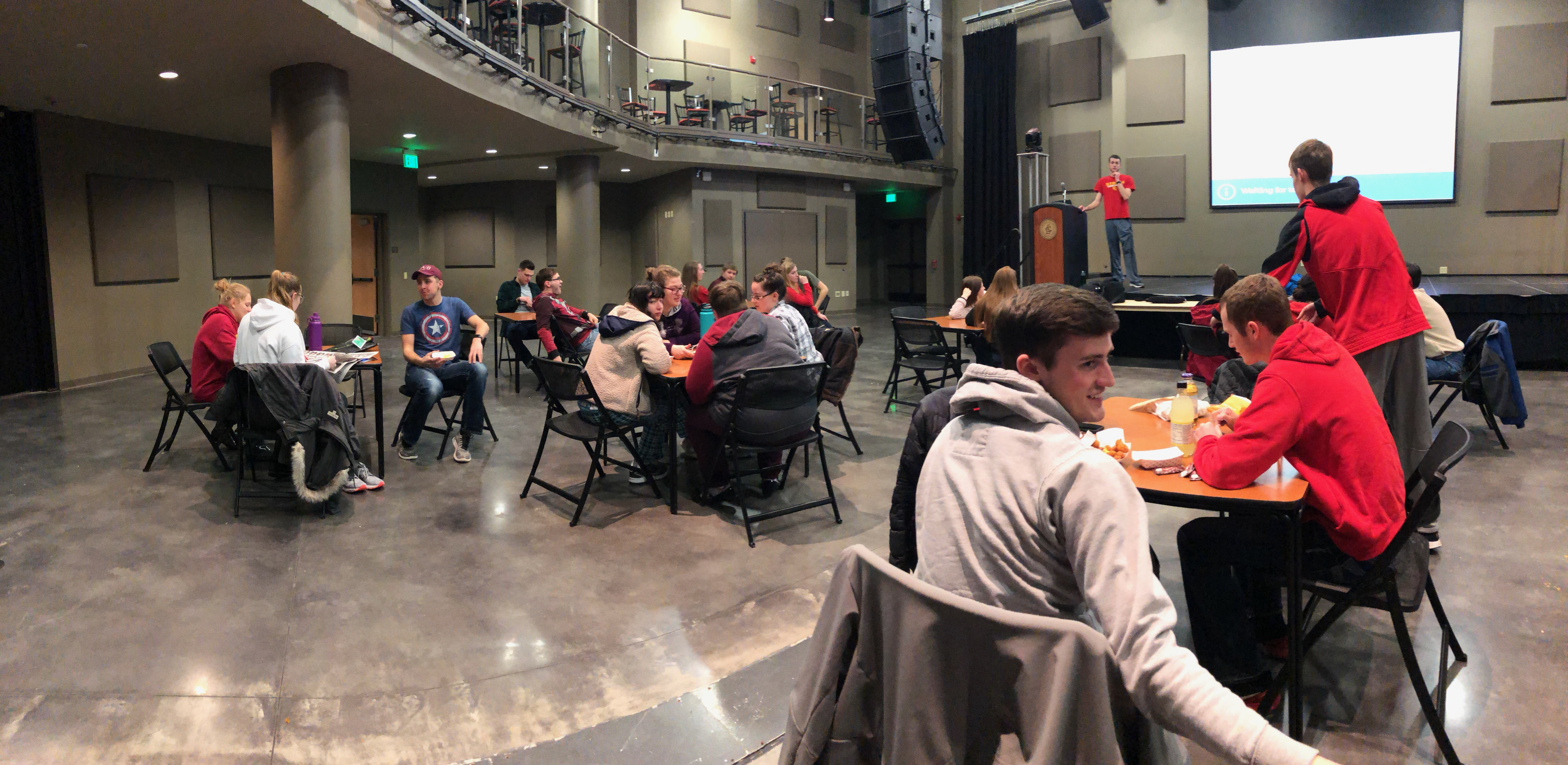 Pictured: Teams prepare as the Iowa History Center Trivia event begins on February 19, 2019