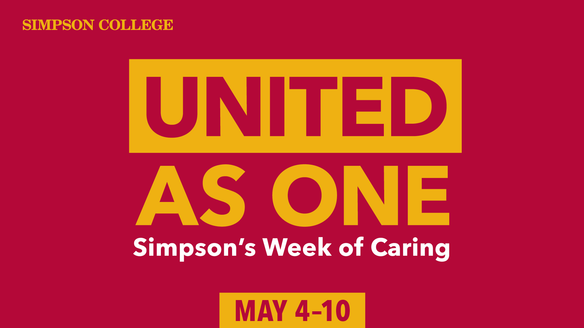 United as ONE: Simpson's Week of Caring Logo