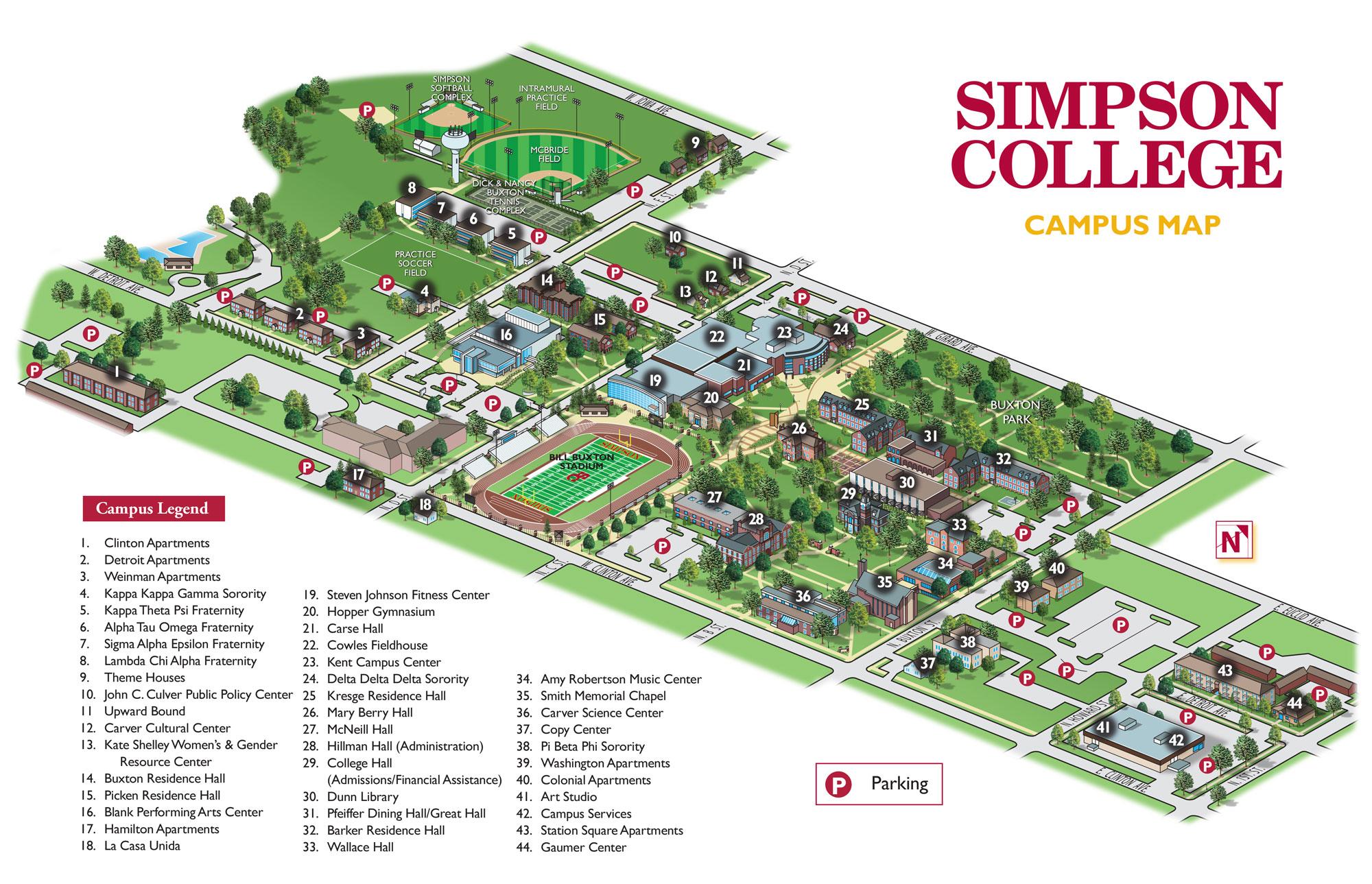 pfeiffer university campus map Campus Buildings Simpson College pfeiffer university campus map
