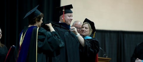 Cole Hippen receives his Master of Arts in Criminal Justice degree.